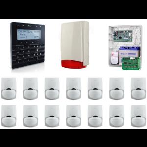 Zestaw alarmowy SATEL Integra 128-WRL, Klawiatura sensoryczna, 14 czujek ruchu PET, sygnalizator zewnętrzny, powiadomienie GSM