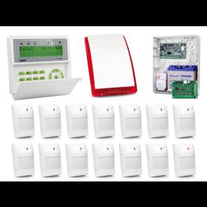 Zestaw alarmowy SATEL Integra 128-WRL, Klawiatura LCD, 14 czujek ruchu, sygnalizator zewnętrzny SP-4001, powiadomienie GSM