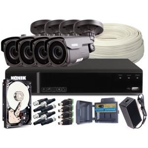 Zestaw CCTV, 4x Kamera HD/IR40, Rejestrator 4k. + 1TB