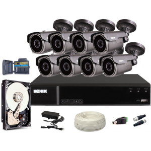 Zestaw CCTV, 8x Kamera HD/IR60, Rejestrator 8k. + 1TB