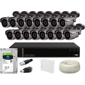 Zestaw CCTV, 16x Kamera HD/IR60, Rejestrator 16x + 2TB
